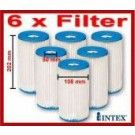 Intex filter cartridge for filter pump 6 pack - Fits Intex Easy Set Quick Up, Metal Frame and Oval Frame pools.