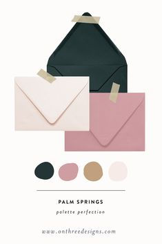 Palette Perfection: Dark Green, Blush and Dusty Rose color palette inspo for wedding invitations. wedding invitations On Three Designs — Palette Perfection