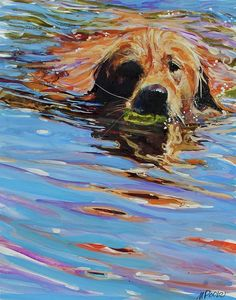 Golden Retriever Canvas Print featuring the painting Sadie Has A Ball by Molly Poole Art Watercolor, Watercolor Animals, Golden Retriever Art, Sports Painting, Dog Portraits, Animal Paintings, Dog Art, Painting Techniques, Fine Art America