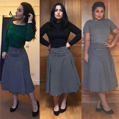 """""""Menina Célia, mas você não repete roupa"""" PARTE 1 : Veja nas fotos, que a saia e o sapato são os mesmos, mudando apenas a blusa, maquiagem e cabelo. Comprar uma peça que consiga fazer varias combinações é uma escolha inteligente! Qualidade acima de quantidade ❤️ . . . #modesty #modestia #modestymatters #modestiasemfrescura #fashion #fashionblogger #christianblogger #lookoftheday #ootd #outfitoftheday #tbt #catholic #catholicism #trend #makeup #makeupinspiration #catholiclady #modacrista…"""
