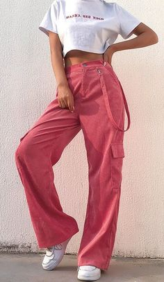 Pink Corduroy Trousers with RibbonYou can find Pink outfits and more on our website.Pink Corduroy Trousers with Ribbon Cute Casual Outfits, Pink Outfits, Retro Outfits, Vintage Outfits, Summer Outfits, Cute Pants Outfits, Pink Pants Outfit, Vintage Pants, Pink Fashion