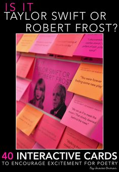 Stump your students with this fun interactive bulletin board featuring Taylor Swift and Robert Frost! Stump your students with this fun interactive bulletin board featuring Taylor Swift and Robert Frost! School Library Displays, Middle School Libraries, Middle School Classroom, English Classroom, Elementary Library, Ela Bulletin Boards, Interactive Bulletin Boards, English Bulletin Boards, Teen Programs