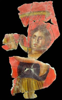 Fresco of  woman plying a musical instrument (1st century BC) recently found in Arles - Arles Museum of Antiques