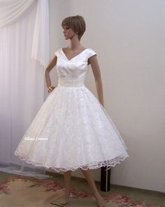 Suzie Retro Style Tea Length Wedding Dress By Ellanacouture