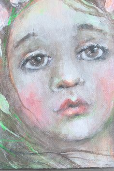 original girl child shabby floral portrait painting by fadedwest,