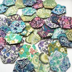 """""""I can't wait to make something out of all the Liberty hexies I've been hand sewing """" - Thanks to @lja_textiles"""