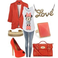Cute outfit featuring Minne Mouse :) id do with out the jacket