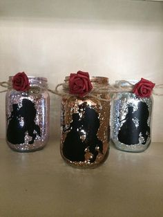 beauty and the beast lantern wedding center piece jar light