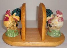 Chicken Rooster Salt & Pepper Shakers Wood Napkin Holder