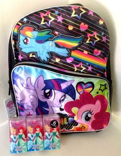 "My Little Pony Backpack Twilight Sparkle Pinkie Pie Rainbow 16"" Book Bag Tissues #Hasbro #Backpack"