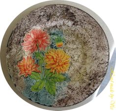 Glass plate gave colorful background gold by VesDecoupage on Etsy, $29.00