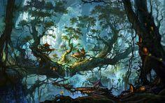 Lataa kuva fantastinen metsä, mökit, suuria puita, art