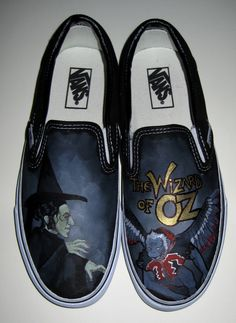 Wizard Of Oz Vans Custom Vans Shoes. Custom Vans Shoes, Painted Shoes, Painted Vans, Painted Sneakers, Vanz, The Worst Witch, Wicked Witch, The Wiz, Shoe Art