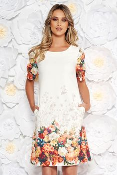 White elegant daily short cut dress short sleeves with bow accessories with pockets, bow accessories, with pockets, straight cut, without clothing, floral prints, short sleeves, thin fabric