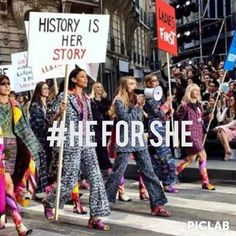 #LadiesFirst This week during Paris Fashion Week, Chanel's Karl Lagerfeld debuted a new feminist look on the runway. Models marched with feminist slogans and a nod to Emma Watson's now famous #HeForShe UN speech. Check out the speech below! http://www.vanityfair.com/vf-hollywood/2014/09/emma-watson-un-speech-feminism  #WhatsUpWed #LoynoSMC