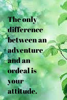 The only difference between an adventure and an ordeal is your attitude. inspirational quotes * wise words * sage advice