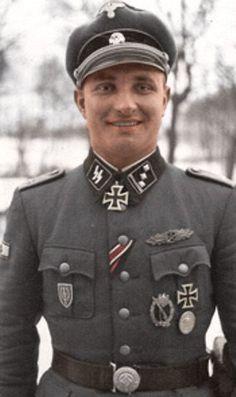 Roberts Ancāns was a Latvian Obersturmführer (senior lieutenant) in the Waffen… Ww2 Uniforms, German Uniforms, German Soldiers Ww2, German Army, Cute Country Boys, The Third Reich, Military History, Churchill, World War Ii