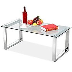 Topeakmart Living Room Modern Glass Top Coffee Tables Metal Base Glass Side End Table with Stainless Steels Legs