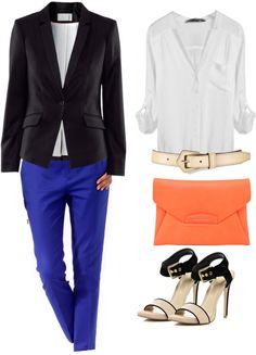 """""""Blue pants and a pop of color."""" by larsandlogan ❤ liked on Polyvore"""