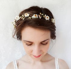 white wildflower hair wreath, bridal hair piece, rustic wedding, hair accessories - BIRCH - a natural flower headpiece