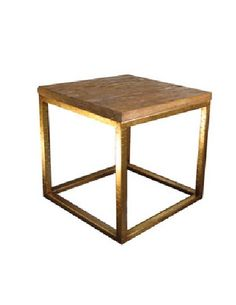 Wood Top and Hammered Gold Side Table, Worlds Away