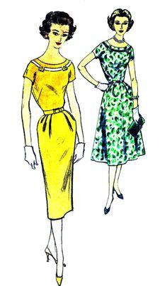1950s Simplicity 2500 Womens Kimono Sleeve Sheath by patternshop, $11.99