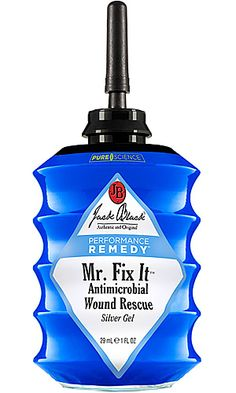JACK BLACK MR. FIX IT ANTIMICROBIAL WOUND RESCUE  Avoid infection, disease, and nasty-ass boils with Jack Black Mr. Fix It Antimicrobial Wound Rescue ($20). This petrolatum-free antimicrobial gel employs the benefits of silver to quickly absorb into and help heal scrapes, cuts, and burns, and halt the growth of MRSA, E coli, staphylococcus, and other nasty germs and bacteria.