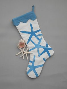 Starfish Christmas stocking coastal 24 sea star by crabbychris, $40.00