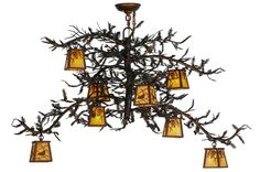 "Meyda 48""W Pine Branch 8 Lt Custom Chandelier"