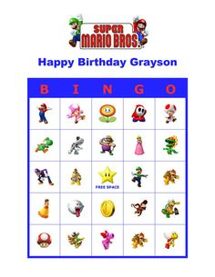 Personalized Super Mario Bros. Birthday Party Game Bingo Cards Delivered by Email