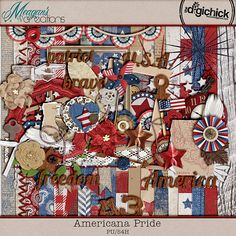 Americana Pride by Meagan's Creations is a fantastic patriotic kit with a rustic, home-grown feel. With wooden textures, burlaps and the stars and stripes, this kit will give some American flair to your summer layouts!