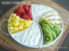 Light & fluffy & summery! Coconut Cream Fruit Dip! 4 oz cream cheese; whip with 1/2 (15oz) can Cream of Coconut (Not coconut milk! Find this in the aisle with the margarita mix & other mixers.); Fold in 1/2 (8oz) tub Cool Whip