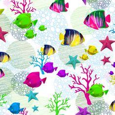 Peces y corales | Diseños de marikilla | ilatela.com, imprime tus sueños en tela
