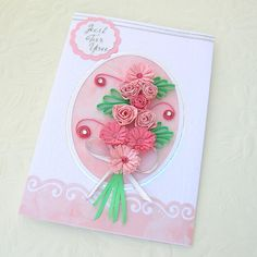 Quilled Card Paper Quilling Greeting Pink by EnchantedQuilling, $7.25