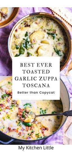 This best-ever version of Zuppa Toscana is built on an incredible bacon roasted garlic broth that gives this soup an edge over all the others. Grab this easy Italian soup recipe over on My Kitchen Little. #zuppatoscana