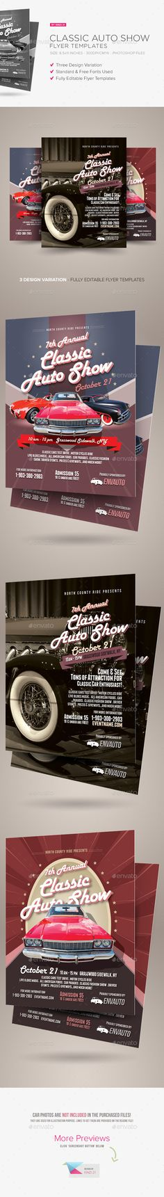 Classic Car Show Event Poster  Flyer  Cars Print Templates And