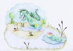 Froschträume (Illustration für Kinderbuch), mehr auf www.comicwald.de