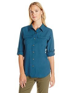 ExOfficio Womens Gill Long Sleeve Shirt Marina XLarge -- Be sure to check out this awesome product.