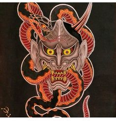 I genuinely am keen on the shades, outlines, and detail. This is a fantastic artwork if you want inspiration for a Hannya Mask Tattoo, Hanya Tattoo, Japanese Art Prints, Japanese Artwork, Irezumi, Chinese Tattoo Designs, Japanese Demon Tattoo, Japan Tattoo Design, Snake Art