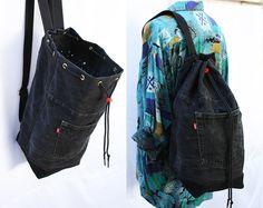 denim noir sac recyclé denim sac à dos jeans sac cordon grand seau sac des années 90 grunge hipster sac à dos respectueux de l'environnement recyclé réutilisés