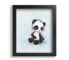 8x10 Children's Art Watercolor Panda Bear Print on Etsy, $24.99