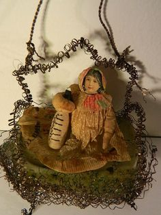 Vintage Christmas Wire Wrapped Glass Scrap Baby in Cradle w Bottle Ornament | eBay