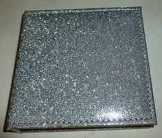 SILVER GLITTER PADDED FLIP-TOP GILDED EDGE HARDBACK TEAR-OUT MEMO BOOK NOTE PAD