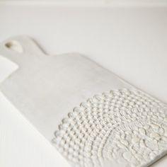 lace serving board, handmade studio tn
