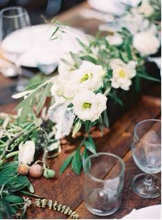 Olive branch and flower decor for dinner