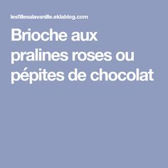 Brioche aux pralines roses ou pépites de chocolat