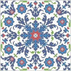 turkish pattern cross stitch blue red flowers lace pillow