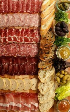 Charcuterie Board - cured meats and pâtés accompanied by pickles, olives & chilli jams.FOOD: Charcuterie Board - cured meats and pâtés accompanied by pickles, olives & chilli jams. Snacks Für Party, Appetizers For Party, Appetizer Recipes, Cold Appetizers, Charcuterie Plate, Charcuterie And Cheese Board, Cheese Boards, Antipasto Platter, Meat Cheese Platters