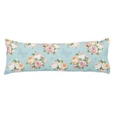 pale blue,vintage,floral,butterfly,victorian,cute, body pillow