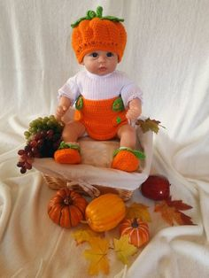 Pumpkin Patch Set for newborn to 3 mos.  Great by LubbiesStitches, $35.00